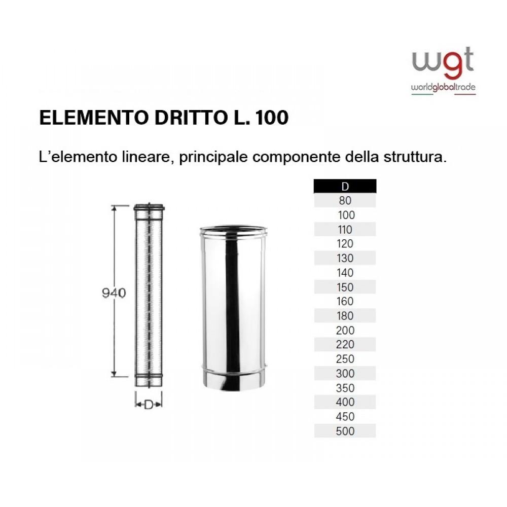 DIAMETRO 250 ELEMENTO DRITTO CM 100 MONOPARETE IN ACCIAIO INOX 316 PER CANNE FUMARIE