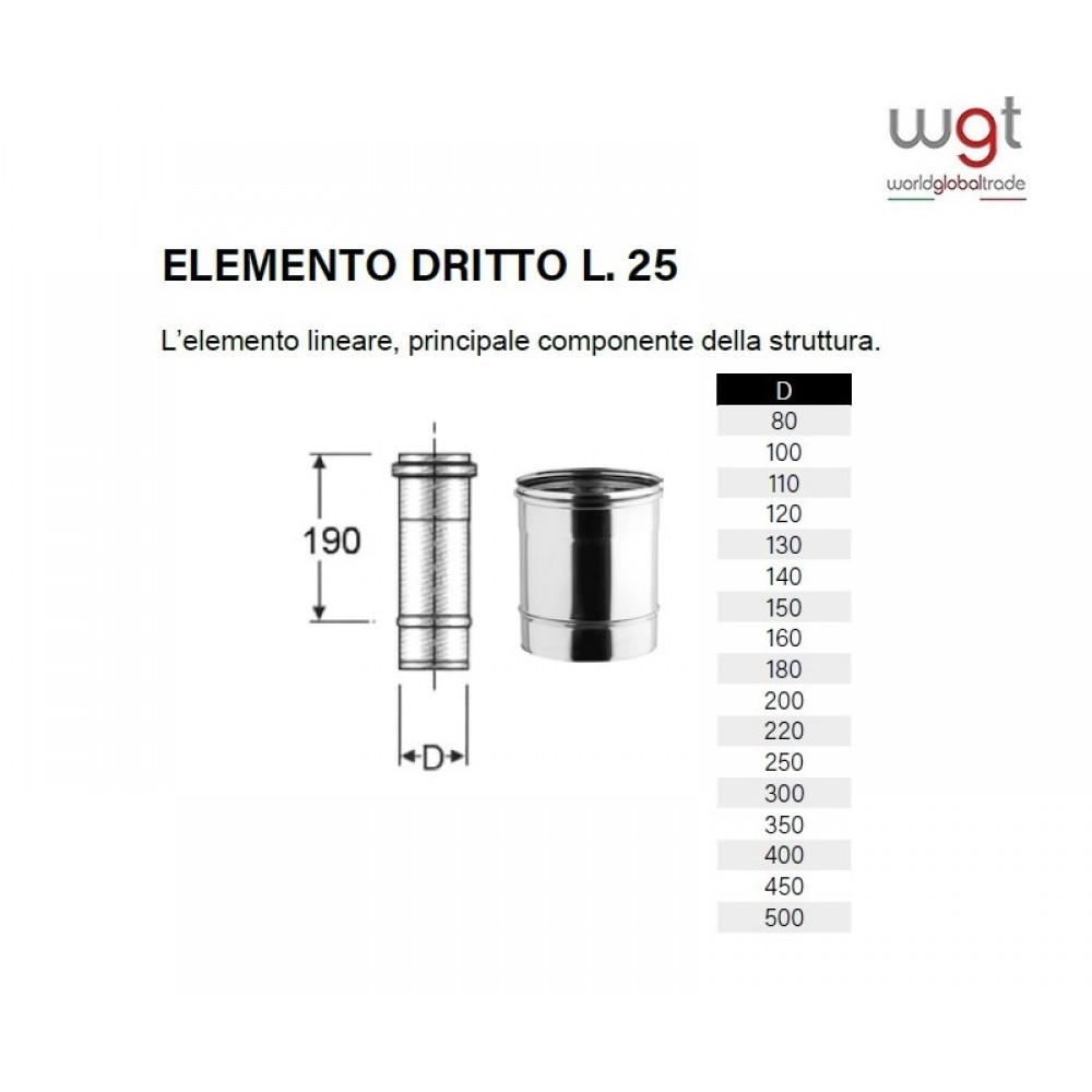 DIAMETRO 300 ELEMENTO DRITTO CM 25 MONOPARETE IN ACCIAIO INOX 316 PER CANNE FUMARIE