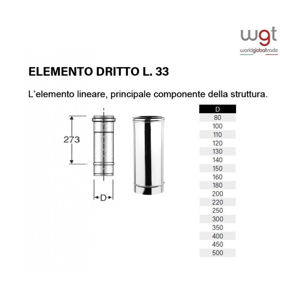 DIAMETRO 200 ELEMENTO DRITTO CM 33 MONOPARETE IN ACCIAIO INOX 304 PER CANNE FUMARIE