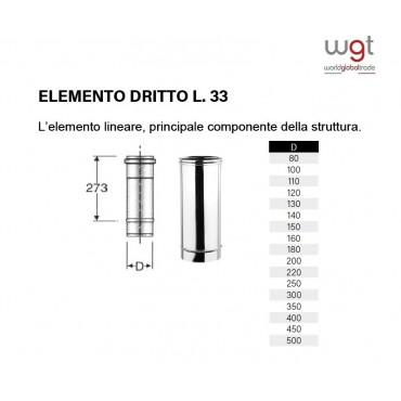 DIAMETRO 120 ELEMENTO DRITTO CM 33 MONOPARETE IN ACCIAIO INOX 316 PER CANNE FUMARIE