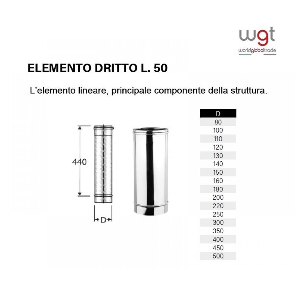 DIAMETRO 160 ELEMENTO DRITTO CM 50 MONOPARETE IN ACCIAIO INOX 316 PER CANNE FUMARIE
