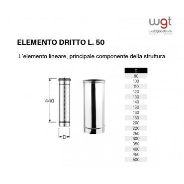 DIAMETRO 80 ELEMENTO DRITTO CM 50 MONOPARETE IN ACCIAIO INOX 316 PER CANNE FUMARIE