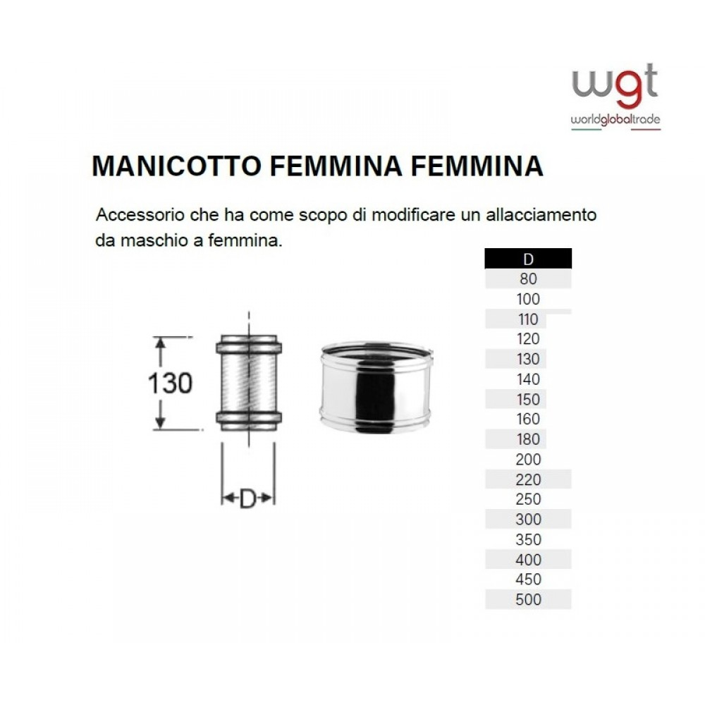 DIAMETRO 80 MANICOTTO FEMMINA FEMMINA MONOPARETE IN ACCIAIO INOX 304 PER CANNE FUMARIE
