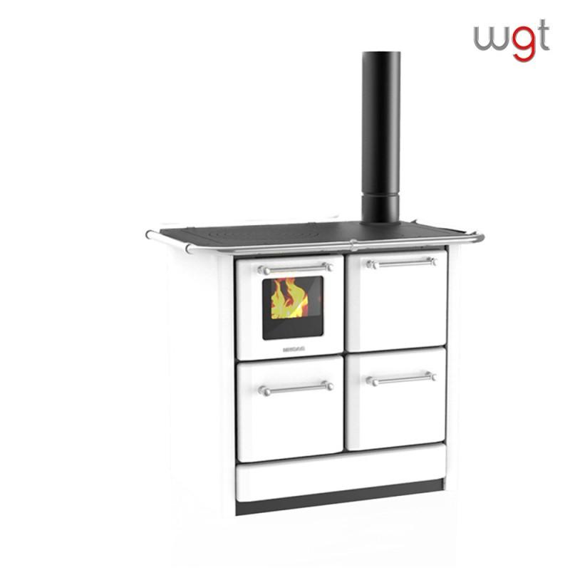 Cucina a legna Lincar serie 135 GNV a fiamma visibile con forno (rivestimento acciaio porcellanato- focolare in ghisa)