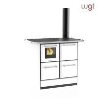 Cucina a legna Lincar serie 145 GNV a fiamma visibile con forno (rivestimento acciaio porcellanato- focolare in ghisa)