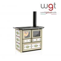 Cucina a legna Lincar  AURORA 149 AVL a fiamma visibile con forno (rivestimento in acciaio porcellanato e ceramica decorata)