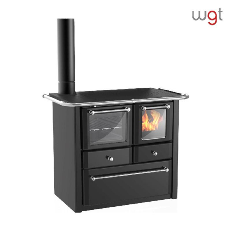 Cucina a legna LINCAR GAIA 149 AV SX SINISTRA a fiamma visibile con forno (rivestimento acciaio porcellanato)