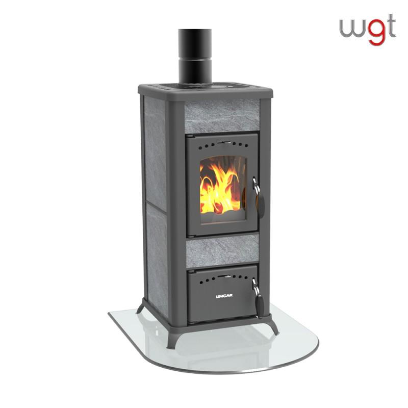 Stufa a legna KW 6,5 LINCAR ALICE 480 AZ a fiamma visibile (rivestimento ceramica e ghisa)
