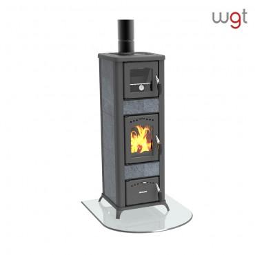 Stufa a legna kw 6,8 Lincar ALICE 490 AZ a fiamma visibile con forno (rivestimento ceramica e ghisa)